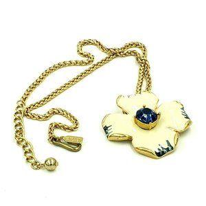 Kenneth Jay Lane Enameled Dogwood Necklace
